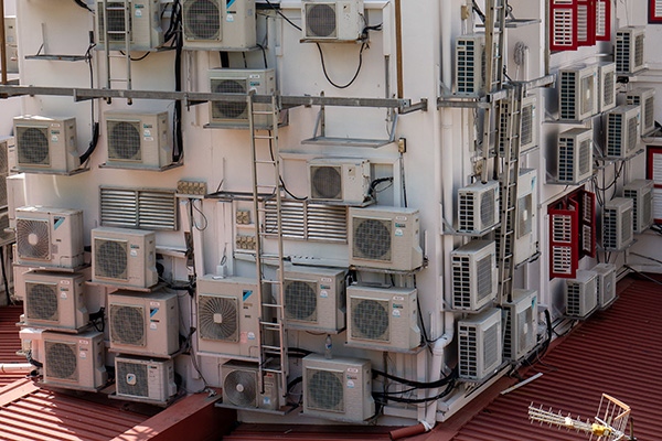 Image of lots or old air conditioners